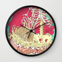 in the flesh Wall Clocks featuring Flesh illustration by ArDem