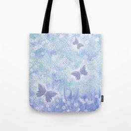 Butterflies Flutter By in Blue Tote Bag