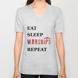 Eat Sleep Warships Repeat - Warships of the World Unisex V-Neck