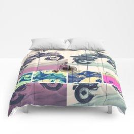 Painting, Illustration, Graphic Design, collage, motorbike Comforters