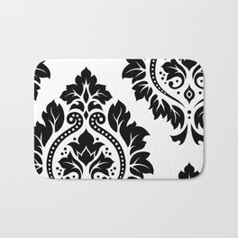 Decorative Damask Art I Black on White Bath Mat
