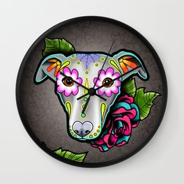 Greyhound - Whippet - Day of the Dead Sugar Skull Dog Wall Clock