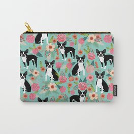 Floral Boston Terrier cute flowers spring bouquet love valentines day black and white mint dogs Carry-All Pouch