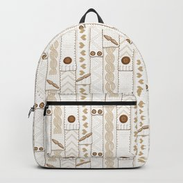 Scarves Knitted Buttoned - Beige Backpack