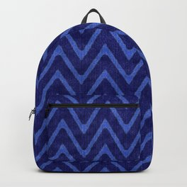 Deep Royal Blue Faux Suede Chevron Pattern Backpack