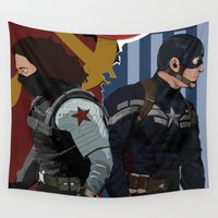 winter soldier Wall Tapestries featuring Winter Soldier by Evan Tapper