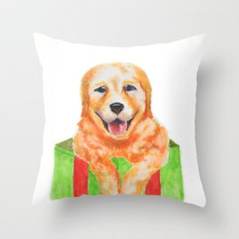 Christmas Retriever Throw Pillow