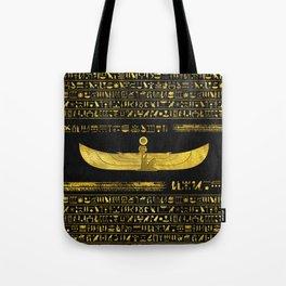Golden Egyptian God Ornament on black leather Tote Bag