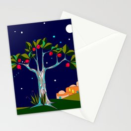 A Pomegranate Tree in Israel at Night, Harvest Stationery Cards