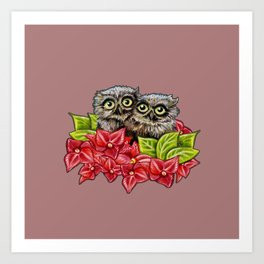 Baby Owls on a Branch Art Print
