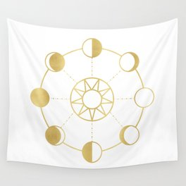 Gold Moon and Sun Phases Wall Tapestry