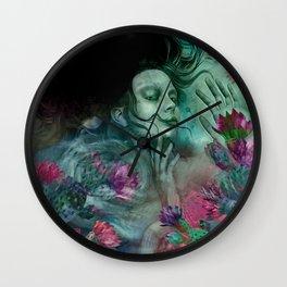 """""""Sirena between pastel cactus flowers"""" Wall Clock"""