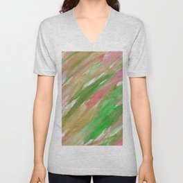 Pink green brown watercolor hand painted brushstrokes Unisex V-Neck