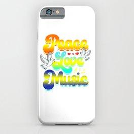 Peace Love Music Rave Festival Musical Hippie iPhone Case