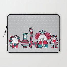 Doodle Animal Friends Pink & Grey Laptop Sleeve