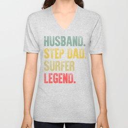 Funny Men Vintage T Shirt Husband Step Dad Surfer Legend Unisex V-Neck