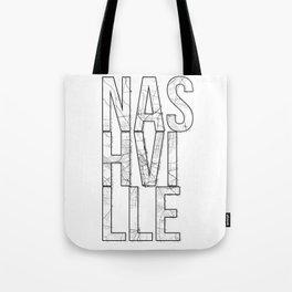 Nashville Street Map Typography Tote Bag