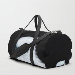 White Bird Black Background #decor #society6 #buyart Duffle Bag