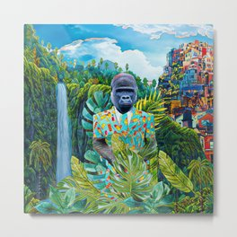 Gorilla in the jungle Metal Print