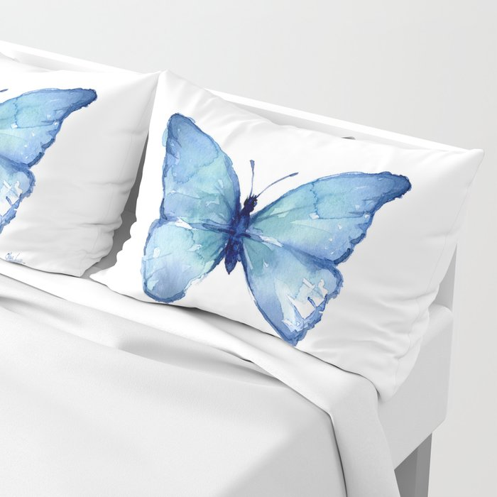 Blue Butterfly Watercolor Pillow Sham