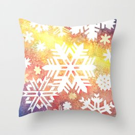Watercolor Snow Flurry Throw Pillow