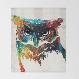 Colorful Owl Art - Wise Guy - By Sharon Cummings Throw Blanket