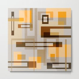 Mid Century Modern Blocks on Sand Metal Print