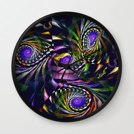 Shattered, modern fractal abstract Wall Clock