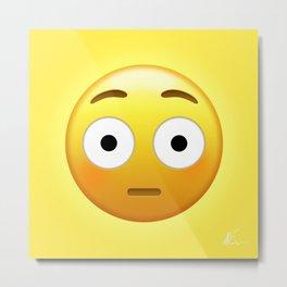 Flushed Face Emoji | Pop Art Metal Print