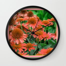 Coral Echinacea Garden Flowers Wall Clock