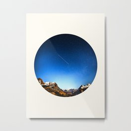 Mid Century Modern Round Circle Photo Minimalist Mountain Range Blue Sky Metal Print