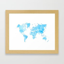 Distressed vintage world map in shades of blue Framed Art Print
