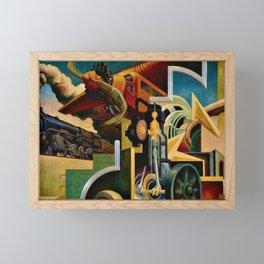 Classical Masterpiece - Instruments of Power - Train, Airplane, Steam by Thomas Hart Benton Framed Mini Art Print