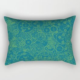 Clockwork Turquoise & Lime / Cogs and clockwork parts lineart pattern Rectangular Pillow