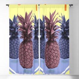Pineapple Print - Tropical Decor - Botanical Print - Pineapple Wall Art - Yellow, Blue - Minimal Blackout Curtain