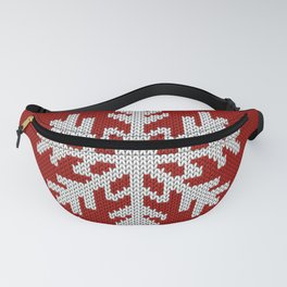 Knitted Christmas decoration white snowflake on red Fanny Pack