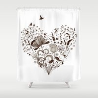 swallow Shower Curtains featuring Swallow heart by Mr Dirns