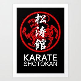 Shotokan Karate Symbol and Kanji white text Art Print