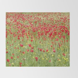 Meadow With Beautiful Bright Red Poppy Flowers  Throw Blanket