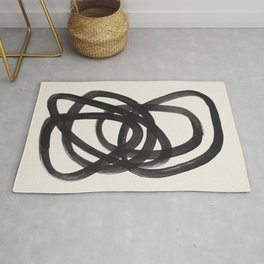 Mid Century Modern Minimalist Abstract Art Brush Strokes Black & White Ink Art Spiral Circles Rug