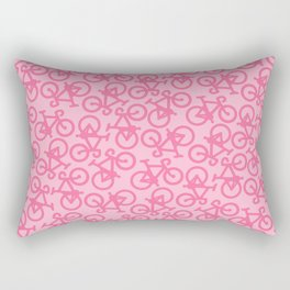 Pastel Pink Bikes Pattern Rectangular Pillow