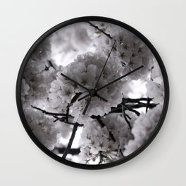 Pale Spring Flowers Delicate Japanese Cherry Blossoms in Bloom Wall Clock