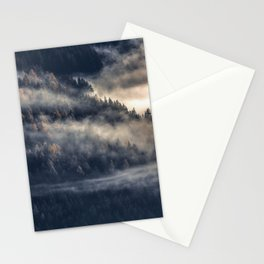 Calming Mountain Fog Scene Stationery Cards