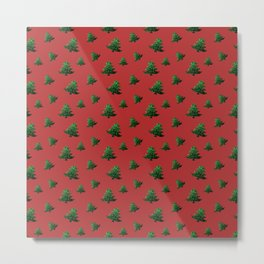 Sparkly Christmas tree green sparkles pattern on Red Metal Print