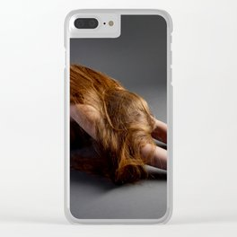 1727-PDJ Nude Redhead Bowing Down Hands Out Clear iPhone Case