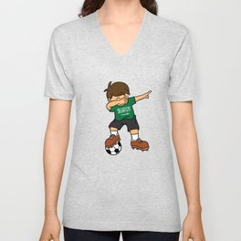 Saudi Arabia Soccer Ball Dabbing Kid Saudi Football 2018 Unisex V-Neck