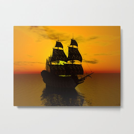 Sailing Along the Golden Sunset Metal Print