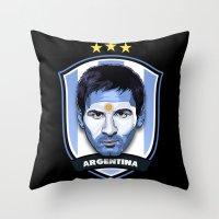 messi Throw Pillows featuring Messi by Rudi Gundersen