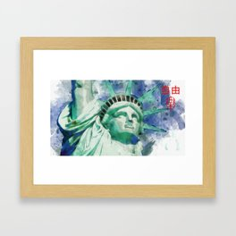 Japanese Watercolor of Statue Of Liberty New York Framed Art Print