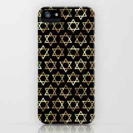 Gold and black Jewish star pattern iPhone Case
